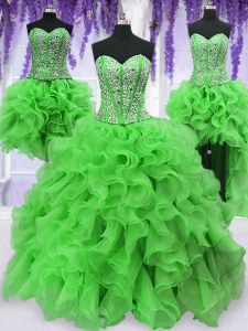 Four Piece Quinceanera Gown Military Ball and Sweet 16 and Quinceanera and For with Beading and Ruffles Sweetheart Sleeveless Lace Up