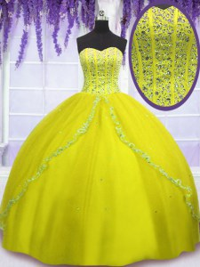 Vintage Yellow Green Sleeveless Beading Floor Length 15 Quinceanera Dress