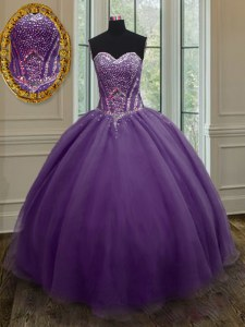 Floor Length Purple Quince Ball Gowns Organza Sleeveless Beading