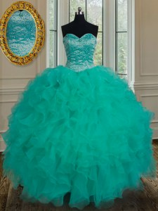 Designer Sleeveless Organza Floor Length Lace Up Sweet 16 Quinceanera Dress in Turquoise with Beading and Ruffles