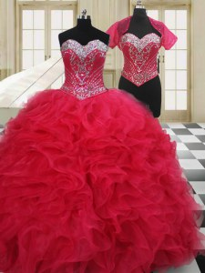 Graceful Ball Gowns Sweet 16 Dress Red Sweetheart Organza Sleeveless Floor Length Lace Up
