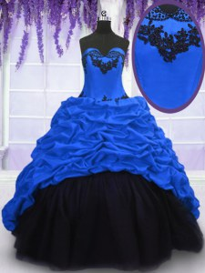 Royal Blue Lace Up Quinceanera Gowns Appliques and Pick Ups Sleeveless With Train Sweep Train