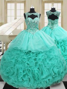 Apple Green Sweet 16 Quinceanera Dress Military Ball and Sweet 16 and Quinceanera and For with Beading and Ruffles Scoop Sleeveless Court Train Lace Up