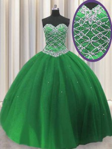 Elegant Green Sleeveless Tulle Lace Up 15 Quinceanera Dress for Military Ball and Sweet 16 and Quinceanera
