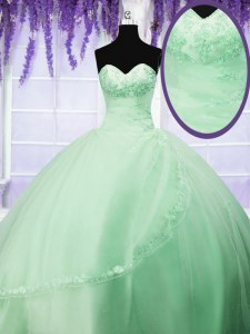 Sweetheart Sleeveless Tulle Sweet 16 Dress Appliques Lace Up