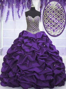 Low Price Eggplant Purple Sweetheart Neckline Beading and Sequins and Pick Ups Ball Gown Prom Dress Sleeveless Lace Up