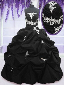 Black Sweet 16 Quinceanera Dress Military Ball and Sweet 16 and Quinceanera and For with Appliques and Pick Ups Strapless Sleeveless Lace Up