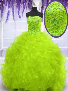 Excellent With Train Column/Sheath Sleeveless Yellow Green Quince Ball Gowns Brush Train Lace Up