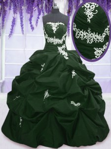 Custom Made Dark Green and Peacock Green Lace Up Strapless Appliques and Pick Ups Sweet 16 Quinceanera Dress Taffeta Sleeveless