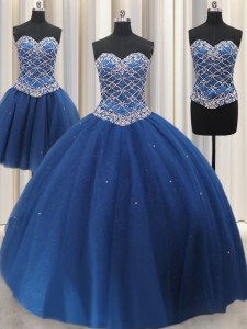 Pretty Three Piece Blue Sleeveless Beading and Sequins Floor Length Quince Ball Gowns