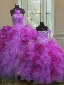 Designer Organza Strapless Sleeveless Lace Up Beading and Ruffles Quinceanera Gown in Multi-color