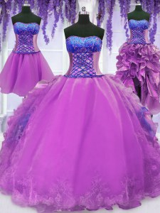 Flare Four Piece Sleeveless Embroidery and Ruffles Lace Up Sweet 16 Quinceanera Dress