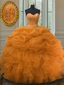New Arrival Orange 15th Birthday Dress Military Ball and Sweet 16 and Quinceanera and For with Beading and Ruffles and Pick Ups Sweetheart Sleeveless Lace Up