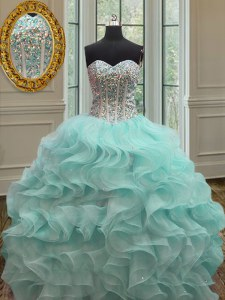 Apple Green Quince Ball Gowns Military Ball and Sweet 16 and Quinceanera and For with Beading and Ruffles Sweetheart Sleeveless Lace Up