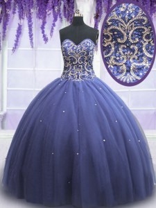 Modern Purple Lace Up Sweetheart Beading Quinceanera Gown Tulle Sleeveless