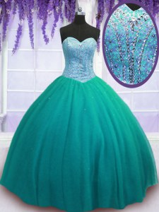 Turquoise Lace Up 15th Birthday Dress Beading Sleeveless Floor Length