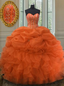 Lovely Organza Sweetheart Sleeveless Lace Up Beading and Ruffles and Pick Ups Sweet 16 Dress in Orange Red