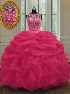 Comfortable Scoop Floor Length Lace Up Quinceanera Dresses Coral Red for Military Ball and Sweet 16 and Quinceanera with Beading and Pick Ups