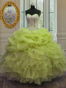 Pick Ups Floor Length Yellow Green Vestidos de Quinceanera Sweetheart Sleeveless Lace Up