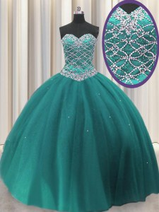 High End Sequins Sweetheart Sleeveless Lace Up Ball Gown Prom Dress Teal Tulle