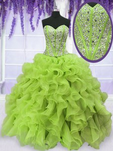 Exceptional Yellow Green Ball Gown Prom Dress Military Ball and Sweet 16 and Quinceanera and For with Beading and Ruffles Sweetheart Sleeveless Lace Up