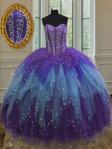 Fitting Multi-color Vestidos de Quinceanera Military Ball and Sweet 16 and Quinceanera and For with Beading and Ruffles and Sequins Sweetheart Sleeveless Lace Up