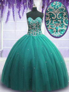 Luxury Floor Length Turquoise Sweet 16 Dresses Tulle Sleeveless Beading
