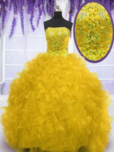 Strapless Sleeveless Brush Train Lace Up Sweet 16 Dress Gold Organza