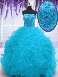Hot Sale Aqua Blue Ball Gowns Strapless Sleeveless Organza With Brush Train Lace Up Beading and Ruffles Quinceanera Gowns