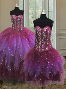 Deluxe Three Piece Tulle Sweetheart Sleeveless Lace Up Beading and Ruffles and Sequins Sweet 16 Dresses in Multi-color