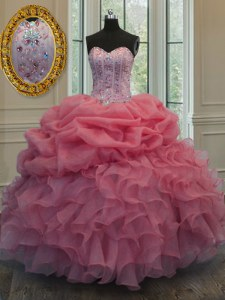 Watermelon Red Ball Gowns Organza Sweetheart Sleeveless Beading and Pick Ups Floor Length Lace Up Quinceanera Dresses