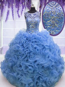 Baby Blue Ball Gowns Scoop Sleeveless Organza Floor Length Lace Up Beading and Ruffles Quinceanera Dresses