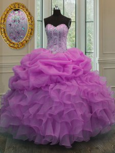 Fantastic Lilac Ball Gowns Organza Sweetheart Sleeveless Beading and Ruffles and Pick Ups Floor Length Lace Up Quinceanera Dress