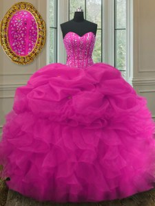 Discount Fuchsia Sweetheart Lace Up Beading and Ruffles and Pick Ups Ball Gown Prom Dress Sleeveless