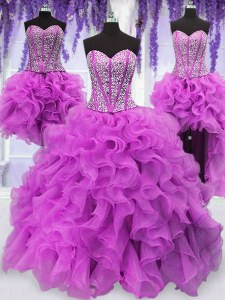 Four Piece Fuchsia Vestidos de Quinceanera Military Ball and Sweet 16 and Quinceanera and For with Ruffles and Sequins Sweetheart Sleeveless Lace Up