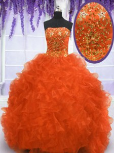With Train Lace Up Sweet 16 Dress Orange Red for Military Ball and Sweet 16 and Quinceanera with Beading and Appliques and Ruffles Brush Train