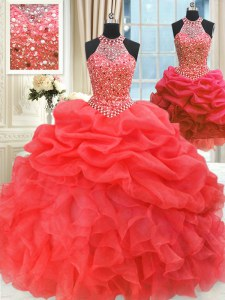 Modest Three Piece Red Organza Lace Up Quinceanera Gowns Sleeveless Floor Length Beading and Pick Ups