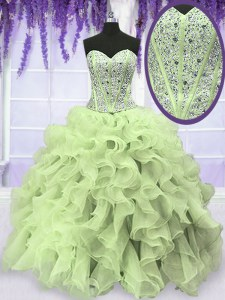 Modern Sleeveless Lace Up Floor Length Beading and Ruffles Vestidos de Quinceanera