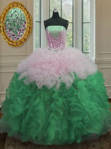 Sleeveless Floor Length Beading and Ruffles Lace Up 15th Birthday Dress with Multi-color