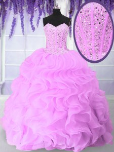 Sleeveless Organza Floor Length Lace Up Quinceanera Dresses in Lilac with Beading and Ruffles