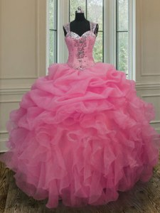 Artistic Floor Length Baby Pink Quinceanera Dresses Straps Sleeveless Zipper