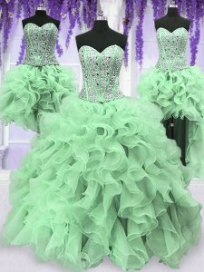 Sexy Four Piece Apple Green Ball Gowns Beading and Ruffles 15 Quinceanera Dress Lace Up Organza Sleeveless Floor Length