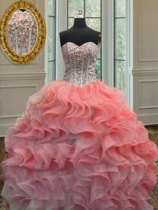 Fantastic Organza Sweetheart Sleeveless Lace Up Beading and Ruffles Quinceanera Dress in Watermelon Red