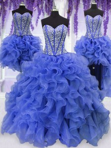 Dynamic Four Piece Sequins Sweetheart Sleeveless Lace Up Quinceanera Dresses Royal Blue Organza
