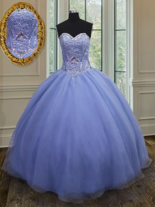 Glamorous Sleeveless Organza Floor Length Lace Up Quinceanera Dress in Lavender with Beading