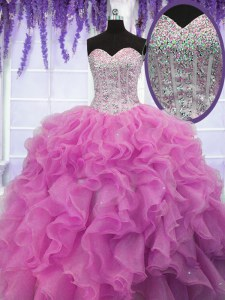 Superior Rose Pink Sweet 16 Dress Military Ball and Sweet 16 and Quinceanera and For with Sequins Sweetheart Sleeveless Lace Up