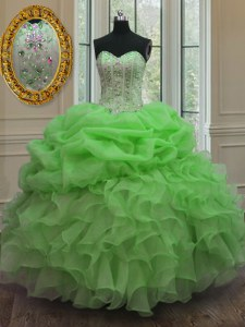 Hot Selling Sleeveless Lace Up Floor Length Beading and Ruffles and Pick Ups 15th Birthday Dress
