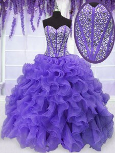 Lavender Ball Gowns Beading and Ruffles 15th Birthday Dress Lace Up Organza Sleeveless Floor Length