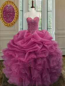 Lilac Ball Gowns Beading and Ruffles Sweet 16 Dress Lace Up Organza Sleeveless Floor Length