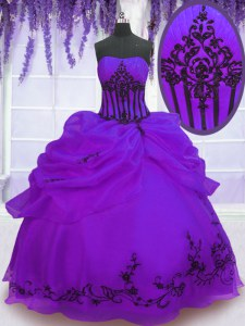 Purple Strapless Lace Up Embroidery 15th Birthday Dress Sleeveless